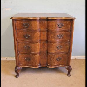 Antique Burr Walnut Serpentine Front Chest of Drawers