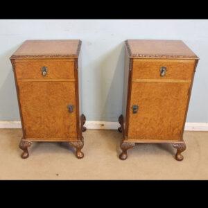 Antique Pair Burr Walnut Bedside Cabinets