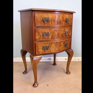 Small Burr Walnut Shaped Front Chest of Drawers