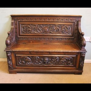 Antique Victorian Carved Oak Settle Bench Hall Seat