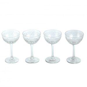 Set Of Six Antique Art Nouveau Crystal Wine Glasses antique glass Antique Glassware