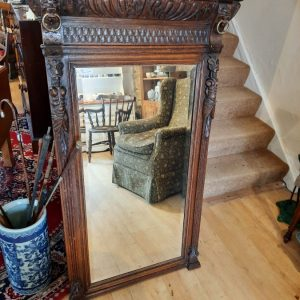 19th Century Flemish Carved Oak Gothic Floor Mirror Carved frame Antique Mirrors