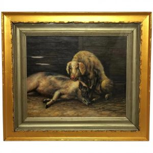 """20th Century Oil Painting Study Of """"Country Farm Animals Pigs In Outhouse"""" animals Antique Art"""