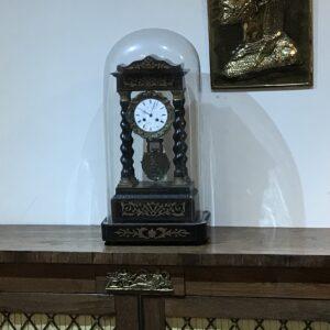 French Portico clock under glass dome Antique Clocks