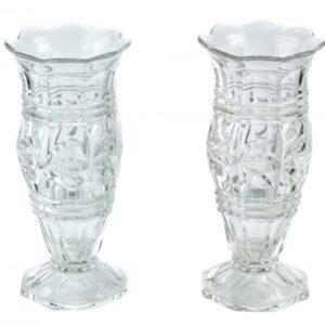 Beautiful Pair Of Antique Glass Edwardian Vases cut glass vases Antique Vases