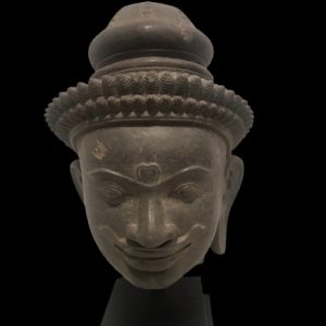 Hardstone Head of a Dvarapala ( Temple warrior) Antique Antiquities