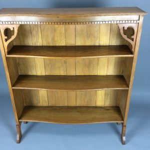 Arts & Crafts Serpentine Open Bookcase Arts and Crafts Antique Bookcases