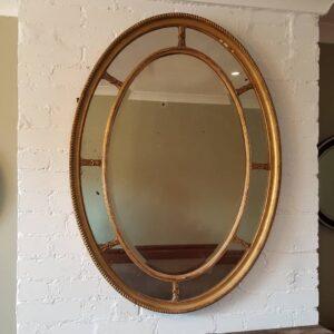 English gilt oval mirror Adam style oval mirror Antique Mirrors