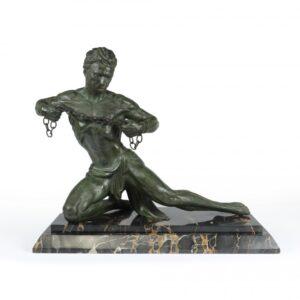"""Art Deco Sculpture """"Man in Chains"""" by Roncourt c1930 Antique Sculptures"""
