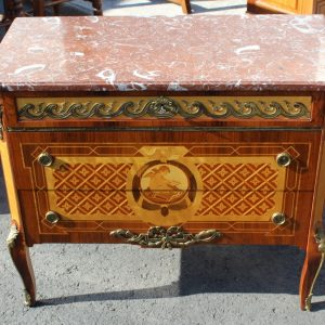 1960s Marquetry Comode Marble Top from Ryden Morler Sweden Antique Antique Cabinets