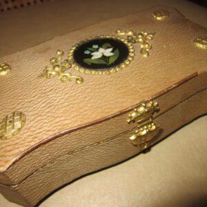 1850's Parisian Chocolate Box/Pietra Dura/Royal Crest Clasp chocolate Antique Boxes