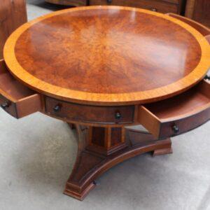 1960s Mahogany Drum Table on Pedestal Base Antique, Antique Tables