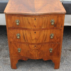 1960s Small Walnut Serpentine Front Chest Drawers Antique Antique Chest Of Drawers