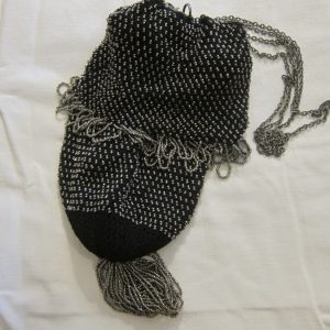 19th Century French Steel Bead & Black Cotton Reticule/Purse French Antique Textiles