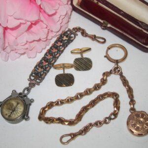 Antique French Gentlemans AccessoriesSilver/Gold albert Antique Jewellery