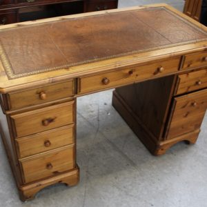 1960s Country Pine Pedestal Desk with Brown Leather on Top Antique Antique Chest Of Drawers