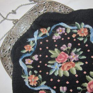 "Antique Italian""Fratelli Coppini"" Silver & Petite Point Opera Purse doves Antique Textiles"
