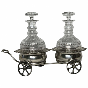 Mappin & Webb Silver Double Carriage Cognac Brandy Crystal Decanters Antique Antique Silver