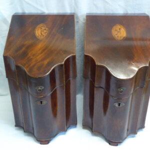 Pair of Georgian mahogany knife boxes Georgian Antique Boxes