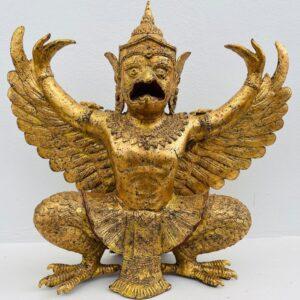 TH027 THAI BRONZE GARUDA WITH GILDED GOLD, RATTANAKOSIN PERIOD, 19th – 20th CENTURY bronze Antique Sculptures