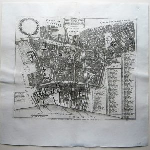 A charming 18th century map of the area around Holborn, Temple Bar, Lincoln's Inn, Smithfield, Dr. Johnson's Court and St. Bartholomew's Hospital antique maps Antique Maps
