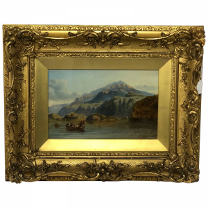 """19th Century Oil Painting """"Bonnie Prince Charlie Crossing To Skye"""" Clarkson Frederick Stanfield RA RBA Antique Antique Art"""