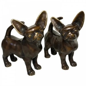 20th Century Life Size Bronze Chihuahua Animal Dog Sculptures animals Vintage