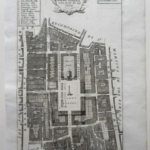 A charming 18th century map of Covent Garden, St.Paul's, Long Acre, The Strand and St. Martin's in the Field. antique map Antique Maps