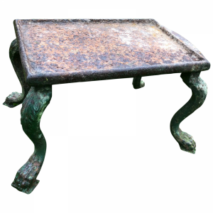 French 18th Century Grand Tour Cast Iron Plinth Garden Table Lion Claw Feet Antique Antique Tables