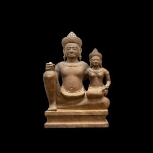 Museum quality. Greystone of Lord Vishnu with his consort Lakshmi Antique Antiquities