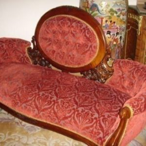 Sofa Victorian Style Mahogany Re Upholstered Burgundy Deep Pile Brocade & Sprung Settee Base Antique Sofas