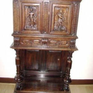 Oak Livery Cabinet On Stand Carved Panels & Drawer Bun Feet Antique Cupboards