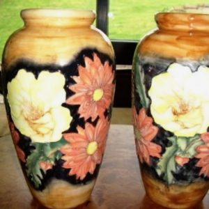 Pair Porcelain Glazed Florian Ware Antique Vases Antique Ceramics