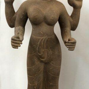 K0454 KHMER DURGA MAHISHASUARAMARDINI, SAMBOR PREI KUK, SANDSTONE khmer Antique Sculptures