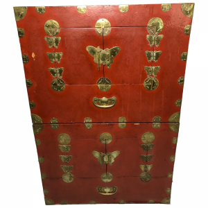 Pair Late Qing Chinese Dowry Marriage Brass Bound Red Lacquer Chest Cabinets Antique Antique Cabinets