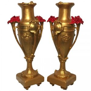 Pair Fine Vintage French Louis XVI Style Rose Vases Clarkson Frederick Stanfield Vintage