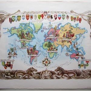 Rare pictorial map of the World by Liozu. map Antique Maps