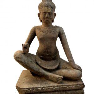 K0433 KHMER SEATED BODHISATTVA LOKESHVARA WITH 3rd EYE, STYLE OF BAPHUON khmer Antique Sculptures