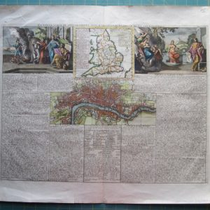 An 18th century map of London with explanatory text. antique map Antique Maps