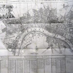 Rare folding map of Georgian London. antique map Antique Maps