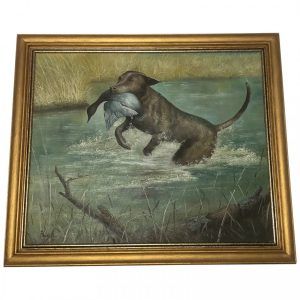20th Century Art Oil Painting Hunting Dog Carrying Duck Prey art Vintage