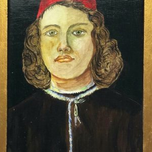 """Early Renaissance Style Oil Painting Portrait """"Noble Young Gentleman"""" After Botticelli after Antique Art"""