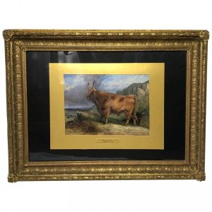 19th Century Scottish Highland Painting Cattle By Aster Richard Chilton Corbould animals Antique Art