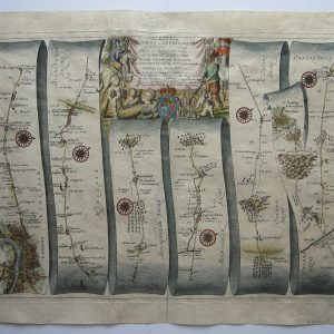 Rare strip or road map from London to Aberystwyth! antique maps Antique Maps