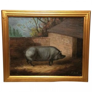 """20th Century Oil Painting Prized Animal """"Grey Farm Pig In Sty"""" Portrait Signed J Box animal Vintage"""
