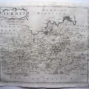 A charming map of the county of Surrey by Robert Morden. antique maps Antique Maps