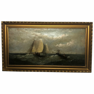 """19th Century Marine Oil Painting """"Shipping In A Swell"""" By Harry J Williams Antique Antique Art"""