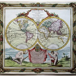 A beautiful Double Hemisphere map by Brion de la Tour! antiquemaps Antique Maps