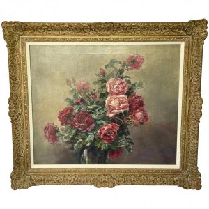 """Impressionist 19th Century French School Oil Painting """"A Bowl Of Red & Pink Roses"""" Antique Art Antique Art"""