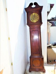 Grandfather Clock brass dial 8 day movement American Redwood cased Antique Clocks